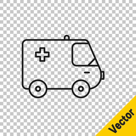 Black line Ambulance and emergency car icon isolated on transparent background. Ambulance vehicle medical evacuation. Vector Illustration