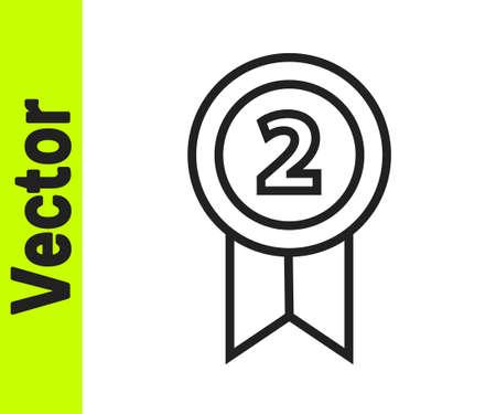 Black line Medal icon isolated on white background. Winner achievement sign. Award medal. Vector Illustration