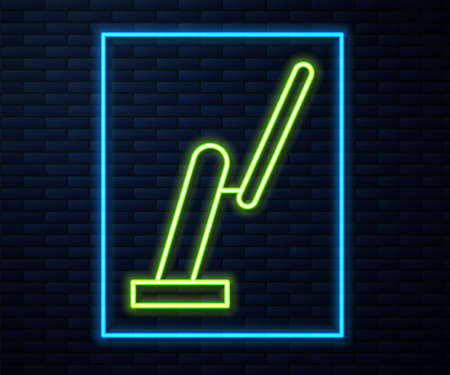 Glowing neon line Windscreen wiper icon isolated on brick wall background. Vector Illustration