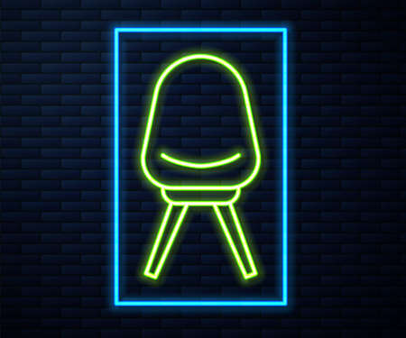Glowing neon line Office chair icon isolated on brick wall background. Vector Illustration. 向量圖像