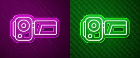 Glowing neon line Cinema camera icon isolated on purple and green background. Video camera. Movie sign. Film projector. Vector Illustration.