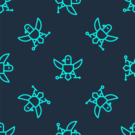 Green line Eagle icon isolated seamless pattern on blue background. American Presidential symbol. Vector Illustration.