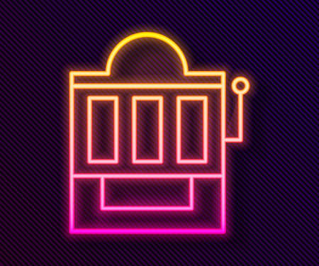 Glowing neon line Slot machine icon isolated on black background. Vector Illustration.
