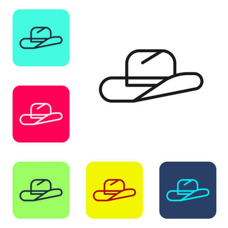 Black line Western cowboy hat icon isolated on white background. Set icons in color square buttons. Vector Illustration.