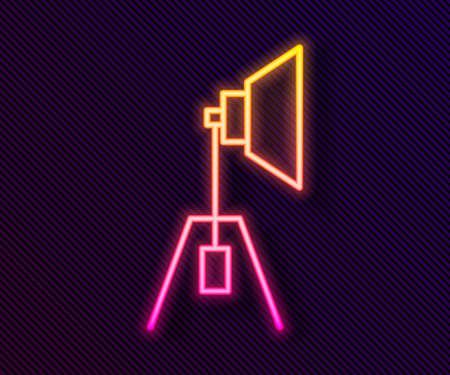 Glowing neon line Movie spotlight icon isolated on black background. Light Effect. Scene, Studio, Show. Vector Illustration.