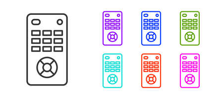 Black line Remote control icon isolated on white background. Set icons colorful. Vector Illustration