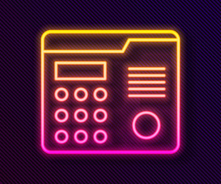 Glowing neon line House intercom system icon isolated on black background. Vector Illustration.