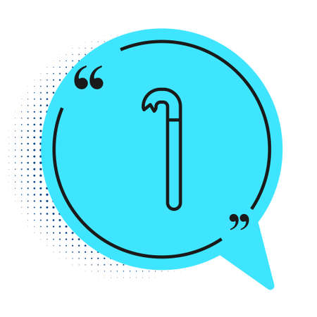 Black line Crowbar icon isolated on white background. Blue speech bubble symbol. Vector Illustration.