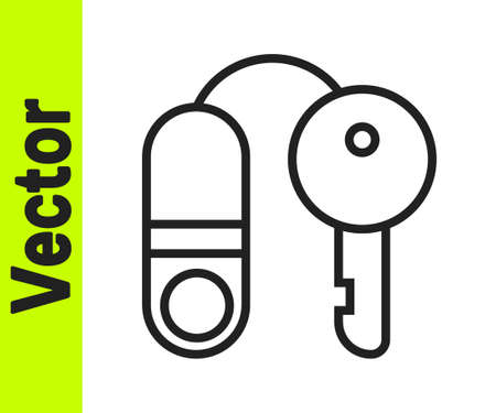 Black line House with key icon isolated on white background. The concept of the house turnkey. Vector Illustration