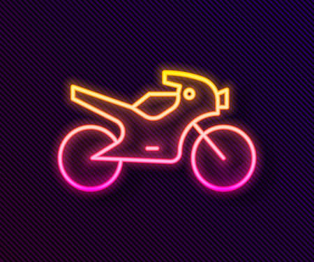 Glowing neon line Motorcycle icon isolated on black background. Vector Illustration