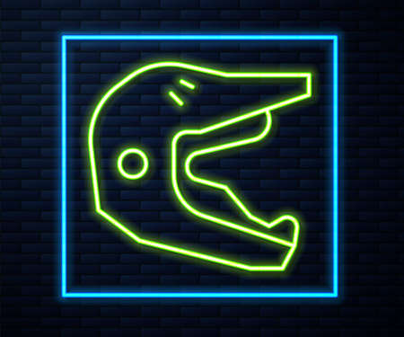 Glowing neon line Motocross motorcycle helmet icon isolated on brick wall background. Vector Illustration  イラスト・ベクター素材