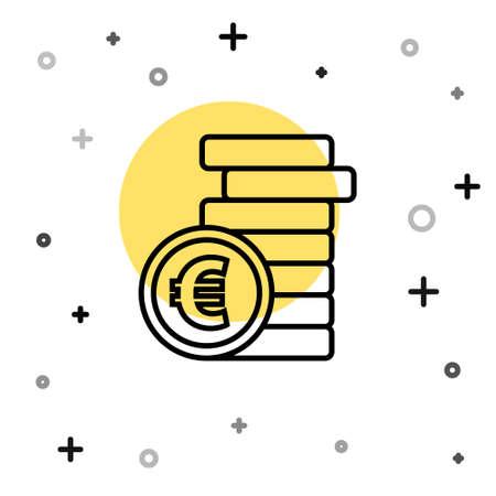 Black line Coin money with euro symbol icon isolated on white background. Banking currency sign. Cash symbol. Random dynamic shapes. Vector Illustration Ilustração