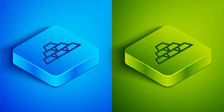 Isometric line Gold bars icon isolated on blue and green background. Banking business concept. Square button. Vector Illustration