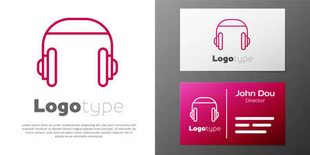 Logotype line Headphones icon isolated on white background. Support customer service, hotline, call center, faq, maintenance.