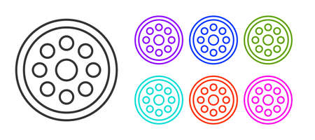 Black line Sewing button for clothes icon isolated on white background. Clothing button. Set icons colorful. Vector Illustration.