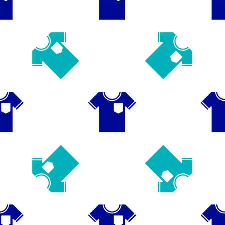 Blue T-shirt icon isolated seamless pattern on white background. Vector Illustration. Vectores