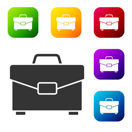 Black Briefcase icon isolated on white background. Business case sign. Business portfolio. Set icons in color square buttons. Vector Illustration.