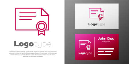 Logotype line Certificate template icon isolated on white background. Achievement, award, degree, grant, diploma concepts. Logo design template element. Vector Illustration. 向量圖像