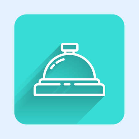 White line Hotel service bell icon isolated with long shadow. Reception bell. Green square button. Vector Illustration.