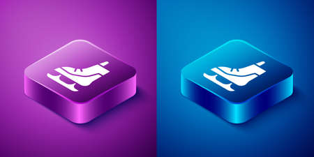 Isometric Skates icon isolated on blue and purple background. Ice skate shoes icon. Sport boots with blades. Square button. Vector Illustration.