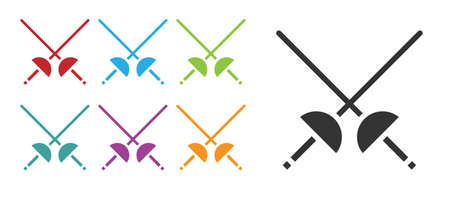 Black Fencing icon isolated on white background. Sport equipment. Set icons colorful. Vector Illustration.