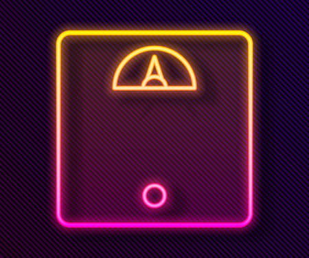 Glowing neon line Bathroom scales icon isolated on black background. Weight measure Equipment. Weight Scale fitness sport concept. Vector Illustration. Illustration