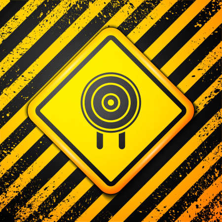 Black Target sport icon isolated on yellow background. Clean target with numbers for shooting range or shooting. Warning sign. Vector Illustration.