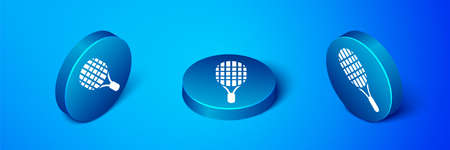 Isometric Tennis racket icon isolated on blue background. Sport equipment. Blue circle button. Vector Illustration.