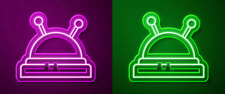 Glowing neon line Needle bed and needles icon isolated on purple and green background. Handmade and sewing theme. Vector Illustration. Ilustração