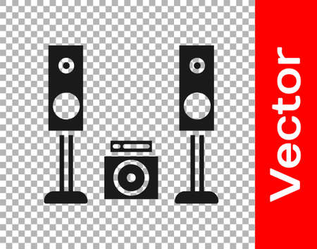 Black Home stereo with two speaker s icon isolated on transparent background. Music system. Vector Illustration.