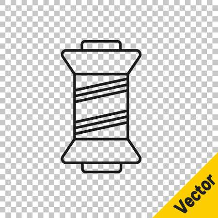 Black line Sewing thread on spool icon isolated on transparent background. Yarn spool. Thread bobbin. Vector Illustration. Ilustração