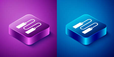 Isometric Jump rope icon isolated on blue and purple background. Skipping rope. Sport equipment. Square button. Vector Illustration Ilustração