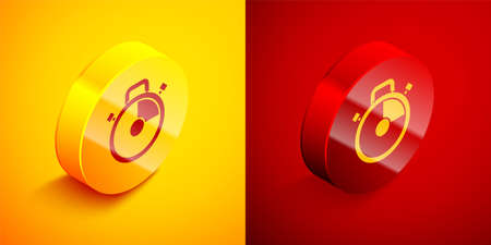 Isometric Stopwatch icon isolated on orange and red background. Time timer sign. Chronometer sign. Circle button. Vector Illustration