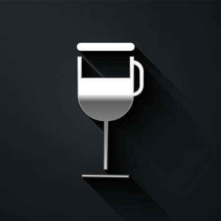 Silver Irish coffee icon isolated on black background. Long shadow style. Vector Illustration Ilustracja