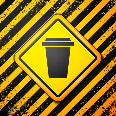 Black Coffee cup to go icon isolated on yellow background. Warning sign. Vector Illustration Çizim