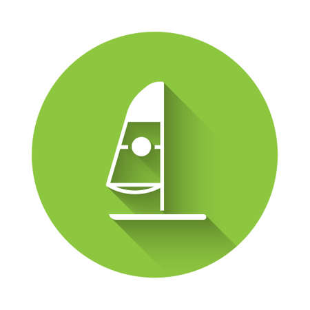White Windsurfing icon isolated with long shadow. Green circle button. Vector Illustration