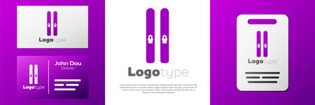 Logotype Ski and sticks icon isolated on white background. Extreme sport. Skiing equipment. Winter sports icon. Logo design template element. Vector Illustration