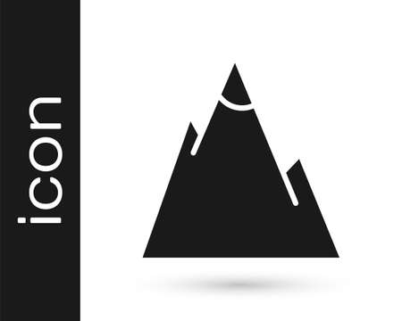 Grey Mountains icon isolated on white background. Symbol of victory or success concept. Vector Illustration