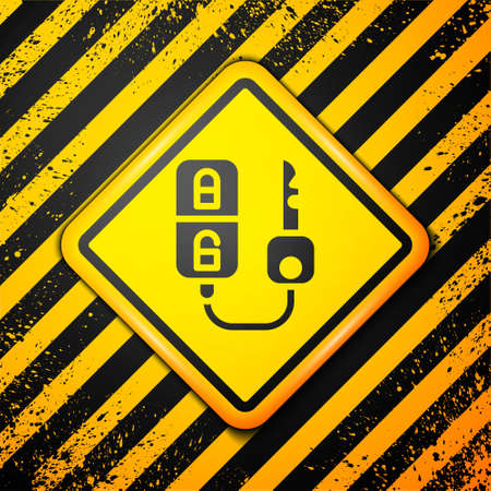 Black Car key with remote icon isolated on yellow background. Car key and alarm system. Warning sign. Vector Illustration