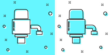 Black line Mechanical pump for bottled water icon isolated on green and white background. Random dynamic shapes. Vector Illustration