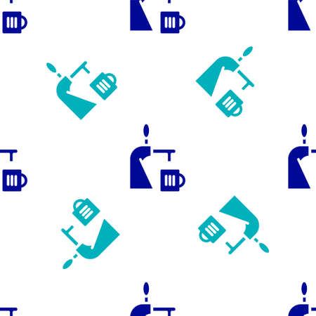Blue Beer tap with glass icon isolated seamless pattern on white background. Vector Illustration
