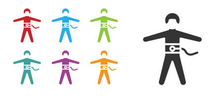 Black Bungee jumping icon isolated on white background. Set icons colorful. Vector Illustration