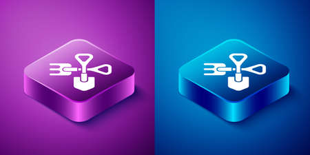 Isometric Shovel and rake icon isolated on blue and purple background. Tool for horticulture, agriculture, gardening, farming. Ground cultivator. Square button. Vector Illustration