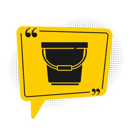 Black Bucket icon isolated on white background. Yellow speech bubble symbol. Vector Illustration Ilustrace