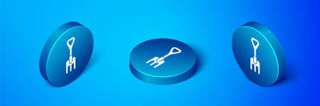 Isometric Garden rake icon isolated on blue background. Tool for horticulture, agriculture, farming. Ground cultivator. Blue circle button. Vector Illustration