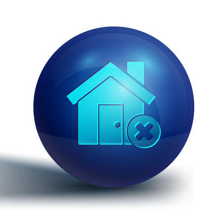 Blue House with wrong mark icon isolated on white background. Home and close, delete, remove symbol. Blue circle button. Vector Illustration Vectores