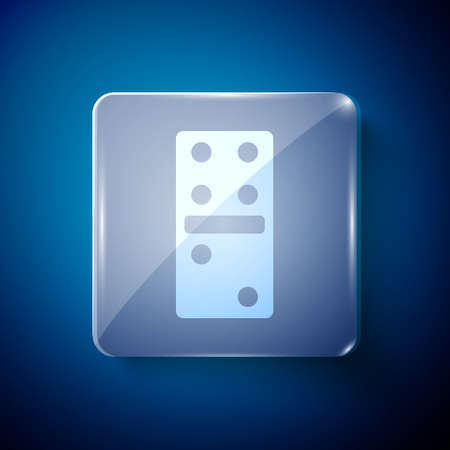 White Domino icon isolated on blue background. Square glass panels. Vector Illustration Vectores