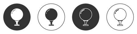 Black Golf ball on tee icon isolated on white background. Circle button. Vector Illustration