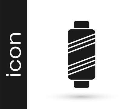 Grey Sewing thread on spool icon isolated on white background. Yarn spool. Thread bobbin. Vector Illustration