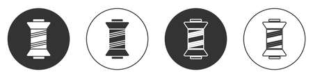 Black Sewing thread on spool icon isolated on white background. Yarn spool. Thread bobbin. Circle button. Vector Illustration